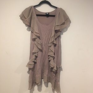 H&M Ruffle Tunic /Dress Size Medium Color Taupe